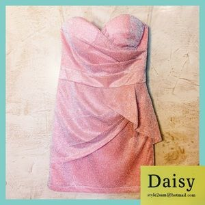 DAISY Peach & Silver Stretchy Strapless Dress